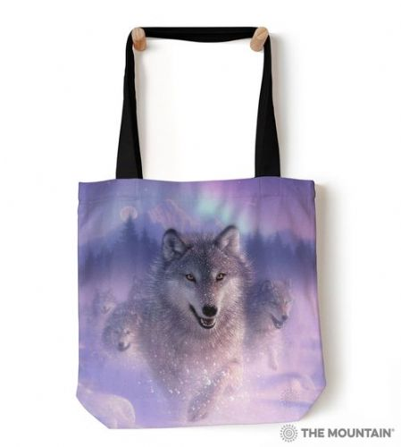 The Mountain® Northern Lights Wolves Tote Bag